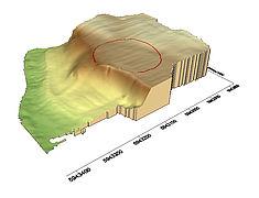 Überhöhtes Geländemodell mit Lage des neolithischen Erdwerkes